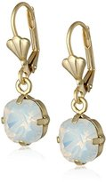 Swarovski Oroclone Crystal Luxe Emerald Cut White Opal Drop Earrings