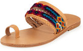 Elina Lebessi Daphne Woven Toe-Ring Flat Slide Sandal