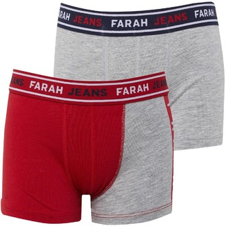 Farah Jeans Boys Printed Two Pack Boxers Red