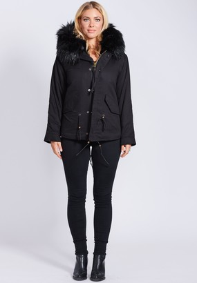 Popski London Fabulous Faux Black Parka Jacket With Faux Fur Collar Black