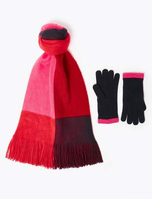 Marks and Spencer Colour Block Scarf & Gloves Set