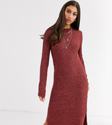 Vero Moda Tall knitted midi dress with side split in brown