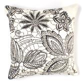 Lace in Ebony Linen Pillow