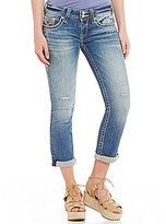 Vigoss Jeans Vigoss Dublin Distressed Woven Stretch Rolled Cuff Cropped Jeans