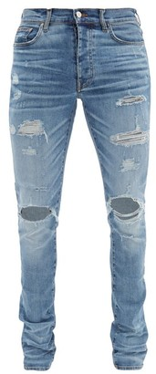 Amiri Thrasher Plus Distressed Slim-leg Jeans - Blue