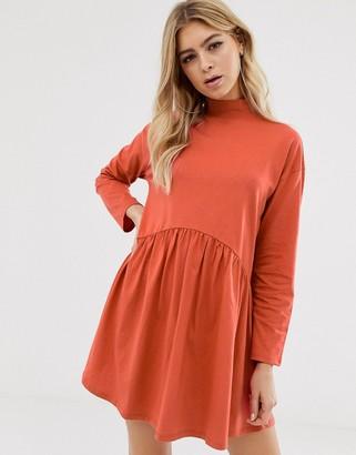 Asos Design DESIGN high neck curve seam smock dress in orange