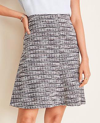 Ann Taylor Petite Tweed Paneled Full Skirt