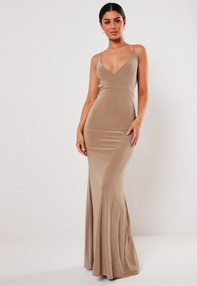 Missguided Mocha Slinky Lace Back Strappy Maxi Dress