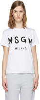 MSGM White Drawn Logo T-Shirt