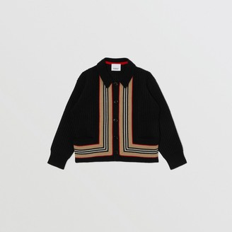 Burberry Childrens Icon Stripe Detail Wool Cashmere Cardigan