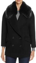 Scotch & Soda Faux Fur Collar Pea Coat