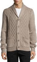 Neiman Marcus Cable-Knit Shawl-Collar Cardigan, Desert Sand