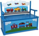 Olive Kids Olive KidsTM Trains, Planes, Trucks Bench Seat with Storage in Blue