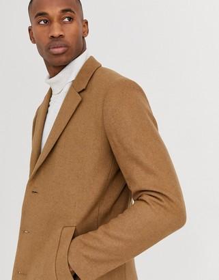 Jack and Jones wool overcoat in camel-Tan