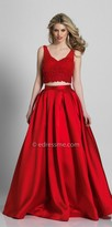 Dave and Johnny Cropped Pearl Embellished Two Piece Ball Gown