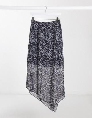 AllSaints aislyn ambient leopard print mini skirt in pale grey