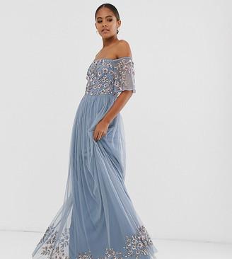 Maya Tall embellished bodice bardot maxi dress in dusty blue