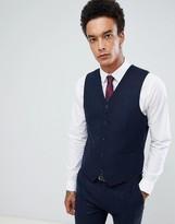 Gianni Feraud Slim Fit Large Navy Herringbone Wool Blend Suit vest