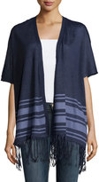 Neiman Marcus Fringe-Trim Striped Open Cardigan, Denim Heather