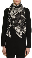 Alexander McQueen Zodiac Skull Silk Scarf, Black/Ivory