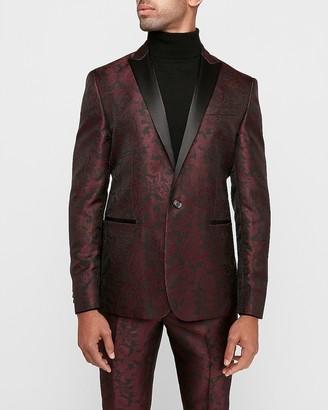Express Slim Burgundy Paisley Jacquard Tuxedo Jacket