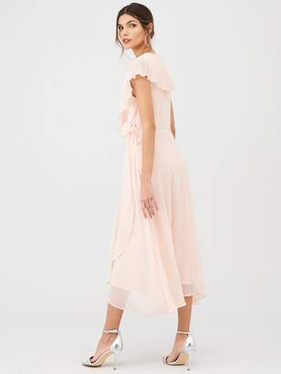Very Pleated Cape Woven Midi Dress