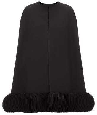 Valentino Chiffon-trimmed Wool-blend Crepe Cape - Womens - Black