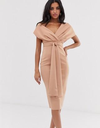 Asos Design DESIGN fallen shoulder midi pencil dress with tie detail