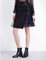 Sacai Buckle-detailed organza skirt