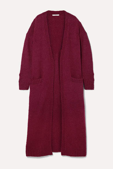 Co Oversized Wool-blend Bouclé Cardigan - Burgundy