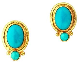 Elizabeth Locke Stone 19K Yellow Gold & Sleeping Beauty Turquoise Cabochon Medium Earrings