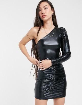 Only Lalisa one shoulder ruched metallic dress-Black