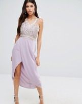 Virgos Lounge Crystal Embroidered Bodice Midi Dress