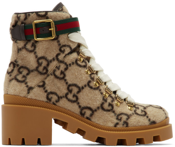 Gucci Beige Wool GG Ankle Boots