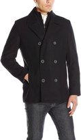 Kenneth Cole Reaction Men's Wool Peacoat with Knit Bib