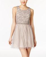 Emerald Sundae Juniors' Lace Fit & Flare Dress