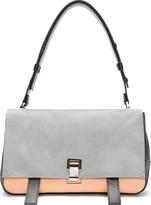 Proenza Schouler Grey Calf-Hair Tri-Color Courier Shoulder Bag