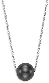 Bloomingdale's Cultured Black Tahitian Pearl Floating Pendant Necklace in 14K White Gold, 16-18 - 100% Exclusive