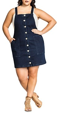 City Chic Plus Sleeveless Denim Button-Front Dress