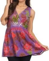 Sakkas 13518 - Allena Sequin Embroidered Sleeveless Elegant V-Neck Blouse / Top - XL