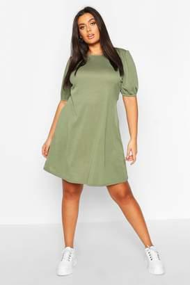 boohoo Plus Soft Rib Puff Sleeve Swing Dress