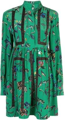 Derek Lam 10 Crosby Long Sleeve Half Placket Botanical Print Shirt Dress
