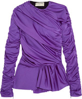 Balenciaga Gathered Satin-jersey Peplum Top - Purple