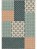 """Beachcrest Home Portwood Patchwork Azo Blue/Cream/Coral Indoor/Outdoor Area Rug Rug Size: Rectangle 7'8"""" x 10'10"""""""