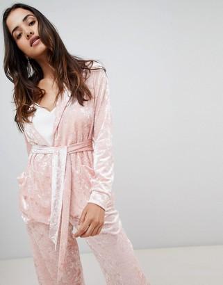 UNIQUE21 Unique 21 Velvet Blazer With Tie Waist Co-Ord-Pink