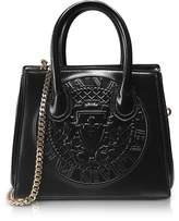 Balmain 3D Black Glossy Leather Mini Top Handle Bag w/Embossed Blazon