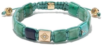 Shamballa Jewels 18kt yellow gold, diamond and turquoise Lock beaded bracelet