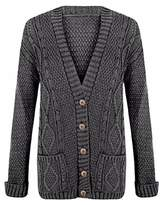 Vraie Mode Womens Grandad button cardigan / Chunky Boyfriend Knitted cardigan