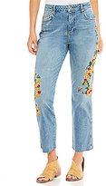 Free People Floral Embroidered Girlfriend Jeans