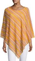 Joan Vass Asymmetric-hem Chevron Poncho Top, Multi Pattern
